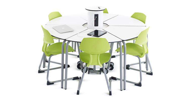 Oppilaspöytiä ja latauspylväs